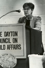 Erma Bombeck talking to Dayton Council on World Affairs.