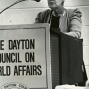 Erma Bombeck talking to Dayton Council on World Affairs.
