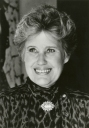 Erma Bombeck, a 1949 University of Dayton graduate, speaks for the Alumni Challenge Campaign to increase alumni participation.