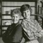 "Erma pictured here with actress Miriam Flynn who portrayed the quintessential housewife, Maggie Weston, in ABC's ""Maggie."" Bombeck created the series."
